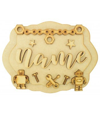 Laser Cut Personalised 3D Layered Rectangle Plaque - Robot Themed