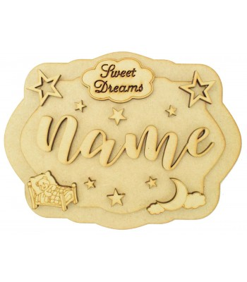 Laser Cut Personalised 3D Layered Rectangle Plaque - Sweet Dreams Themed