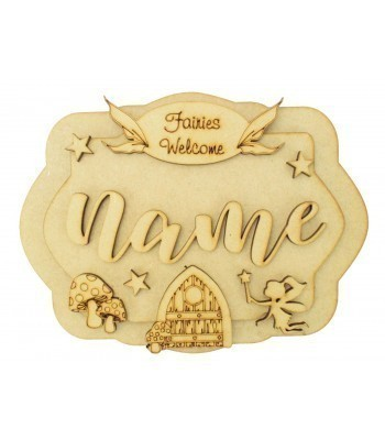 Laser Cut Personalised 3D Layered Rectangle Plaque - Fairy Themed