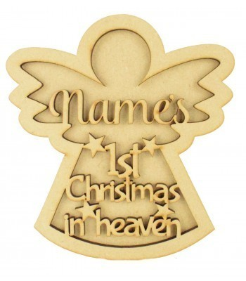 Laser Cut Personalised 3D Angel Shape Sign - 'First Christmas in Heaven'