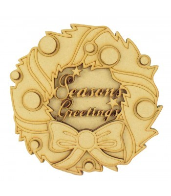 Laser Cut 3D Christmas Wreath Shape Sign - 'Seasons Greetings'
