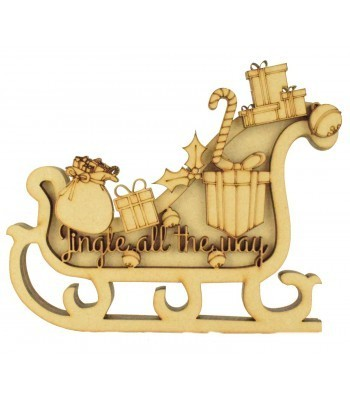 Laser Cut 3D Sleigh Shape Sign - 'Jingle all the way'