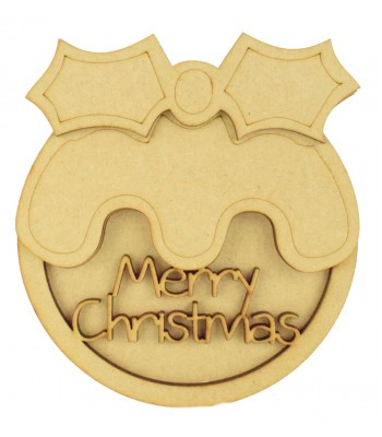 Laser Cut 3D Christmas Pudding Shape Sign - 'Merry Christmas'