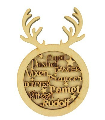 Laser Cut 3D Reindeer Head Shape Sign - 'Cupid Dasher Dancer Vixen Prancer Donner Comet Blitzen Rudolf'
