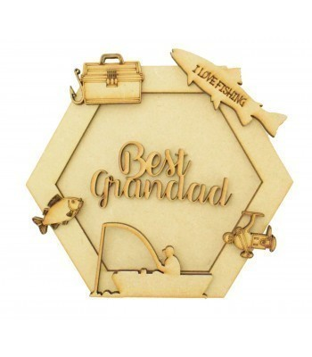 Laser Cut Personalised 3D Hexagon Shape Sign - Fishing Themed