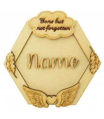 Laser Cut Personalised 3D Hexagon Shape Sign - Heaven Themed