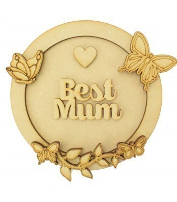 Laser Cut Personalised 3D Circle Shape Sign - Butterfly Themed