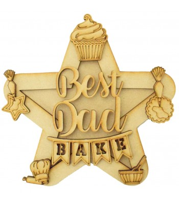 Laser Cut Personalised 3D Star Shape Sign - Baking Themed