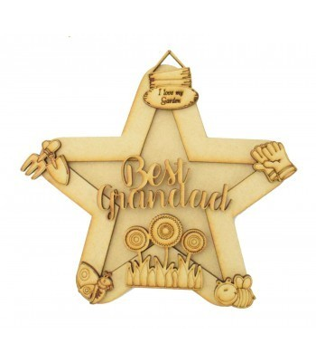Laser Cut Personalised 3D Star Shape Sign - Gardening Themed