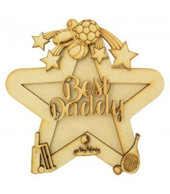 Laser Cut Personalised 3D Star Shape Sign - Sports Themed