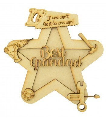 Laser Cut Personalised 3D Star Shape Sign - Tools Themed