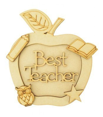 Laser Cut Personalised 3D Apple Shape Sign - Best Teacher
