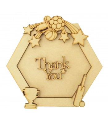 Laser Cut Personalised 3D Hexagon Shape Sign - Thank You - Sports Theme