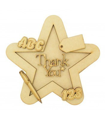 Laser Cut Personalised 3D Star Shape Sign - Thank You - Writing Theme