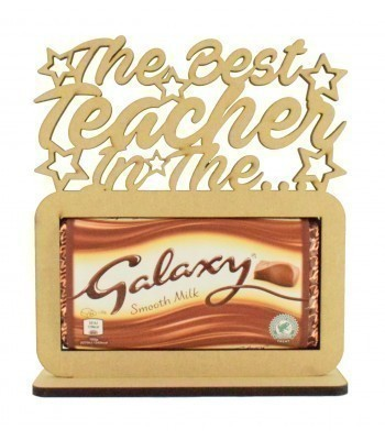 6mm 'The best Teacher in the Galaxy' Galaxy Chocolate Bar Holder on a Stand