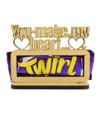 6mm 'You make my heart Twirl' Twirl Chocolate Bar Holder on a Stand