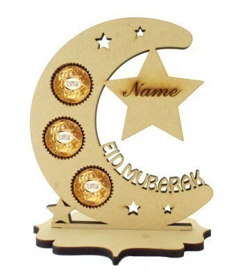 6mm Personalised 'Eid Mubarak' Moon Ferrero Rocher Holder on a Stand