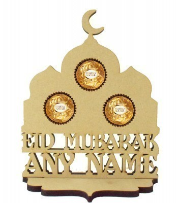 6mm Personalised 'Eid Mubarak' Temple Ferrero Rocher Holder on a Stand