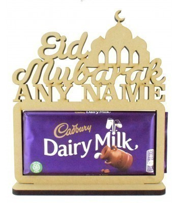 6mm Personalised 'Eid Mubarak' with a Temple. Cadbury Dairy Milk Chocolate Bar Holder on a Stand