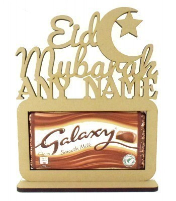 6mm Personalised 'Eid Mubarak' with Moon. Galaxy Chocolate Bar Holder on a Stand