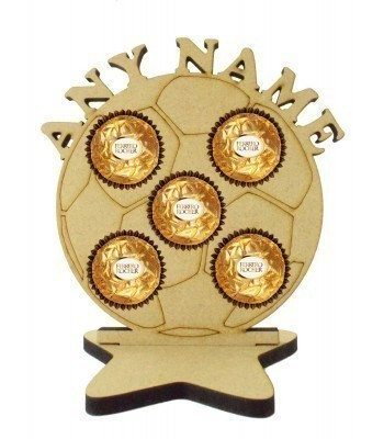 6mm Personalised Football Ferrero Rocher Holder on a Star Stand