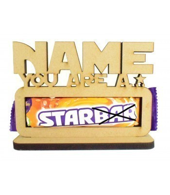 6mm Personalised 'You are a star' Starbar Chocolate Bar Holder on a Stand