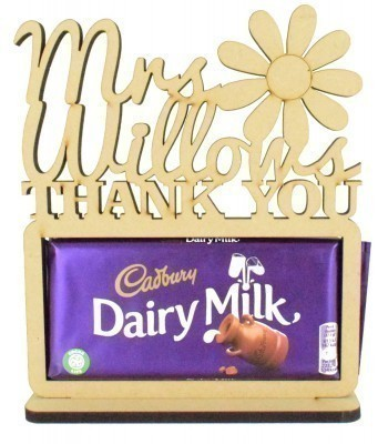 6mm Personalised Teachers 'Thank You' Cadbury Dairy Milk Chocolate Bar Holder on a Stand