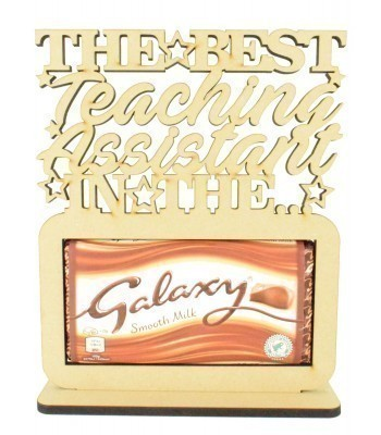 6mm Personalised Teachers 'The best... in the Galaxy' Galaxy Chocolate Bar Holder on a Stand