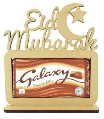 6mm 'Eid Mubarak' with Moon. Galaxy Chocolate Bar Holder on a Stand
