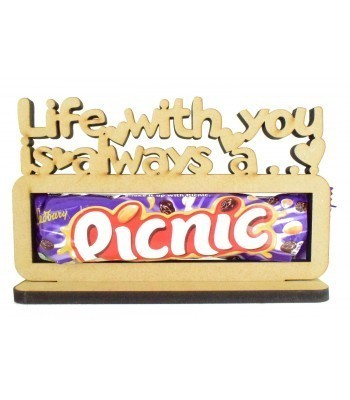 6mm 'Life with you is always a picnic' Picnic Chocolate Bar Holder on a Stand