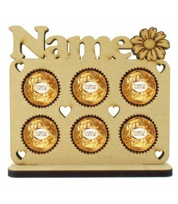 6mm Personalised Name with Flower Plaque Ferrero Rocher Holder on a Stand