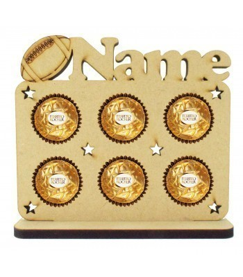 6mm Personalised Name with Rugby Ball Plaque Ferrero Rocher Holder on a Stand
