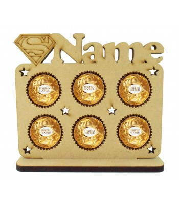 6mm Personalised Name with Superhero Logo Plaque Ferrero Rocher Holder on a Stand