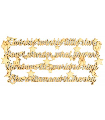 Laser Cut 'Twinkle Twinkle Little Star' Detailed Nursery Rhyme Quote Sign