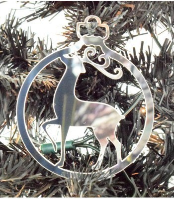 Laser Cut Mirrored Acrylic Fancy Reindeer Bauble  - 100mm Size
