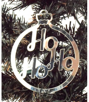 Laser Cut Mirrored Acrylic Ho Ho Ho Bauble  - 100mm Size