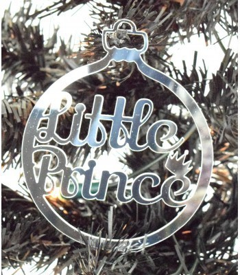 Laser Cut Mirrored Acrylic 'Little Prince' Bauble  - 100mm Size