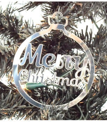 Laser Cut Mirrored Acrylic 'Merry Christmas' Bauble  - 100mm Size