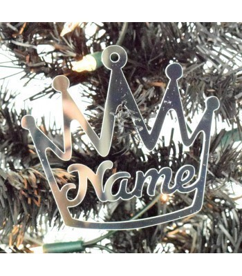 Laser Cut Personalised Mirrored Acrylic Crown Bauble - 100mm Size