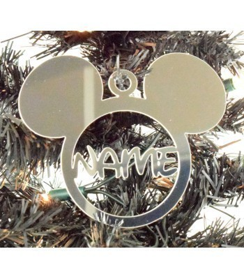 Laser Cut Personalised Mirrored Acrylic Mouse Head Bauble - 120mm Size