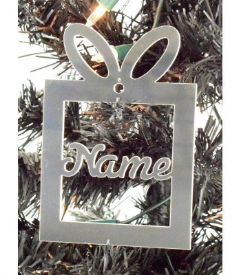 Laser Cut Personalised Mirrored Acrylic Present Bauble - 120mm Size