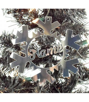 Laser Cut Personalised Mirrored Acrylic Snowflake Bauble - 120mm Size