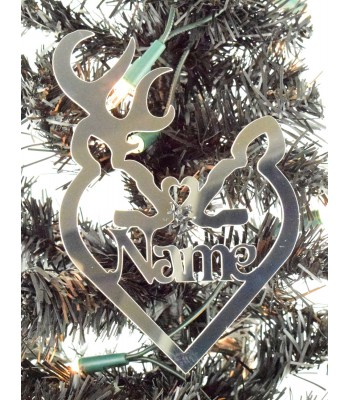 Laser Cut Personalised Mirrored Acrylic Stag & Deer Heart Bauble - 150mm Size