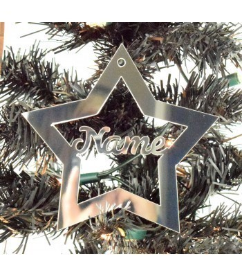 Laser Cut Personalised Mirrored Acrylic Star Bauble - 120mm Size