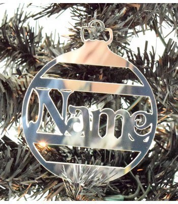 Laser Cut Personalised Mirrored Acrylic Stripe Bauble 100mm Size - Vic Font