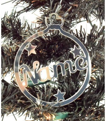 Laser Cut Personalised Mirrored Acrylic Bauble - Name with Stars - 100mm Size