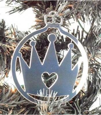 Laser Cut Mirrored Acrylic Princess Crown Bauble  - 100mm Size