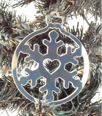 Laser Cut Mirrored Acrylic Snowflake Bauble  - 100mm Size