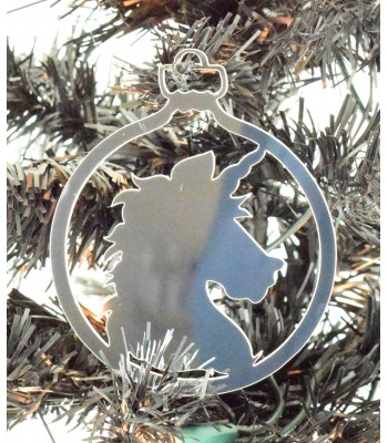 Laser Cut Mirrored Acrylic Unicorn Head Bauble  - 100mm Size
