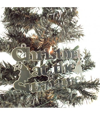 Laser Cut Mirrored Acrylic Personalised 'Christmas At The...' Sign with Christmas Trees and Stars